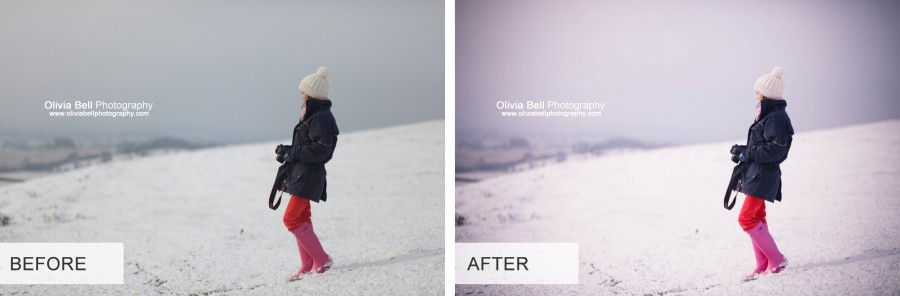 White Winter Photoshop Action - Before and After